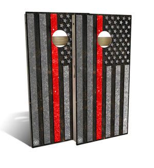 cornhole board set with thin red line flag design