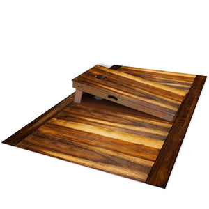 Slick Woody's Treated Oak Pitch Pad - side view with cornhole board on top