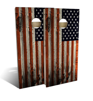 cornhole board set with american flag design