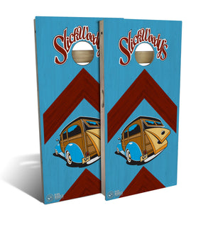 cornhole board set with Slick Woodys Heritage logo and arrow design