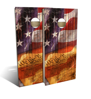cornhole board set with we the people design
