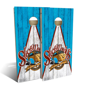 cornhole board set with Slick Woodys Heritage logo on wood triangle design