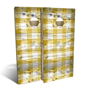 Country Living Yellow Checker Pattern Cornhole Board Set (includes 8 bags)