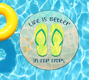 Life Is Better In Flip Flops (Yellow) Underwater Pool Mat Tattoo