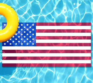 American flag underwater pool mat