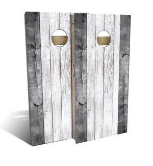 Grey and White barnstripe Cornhole Board Set (includes 8 bags)