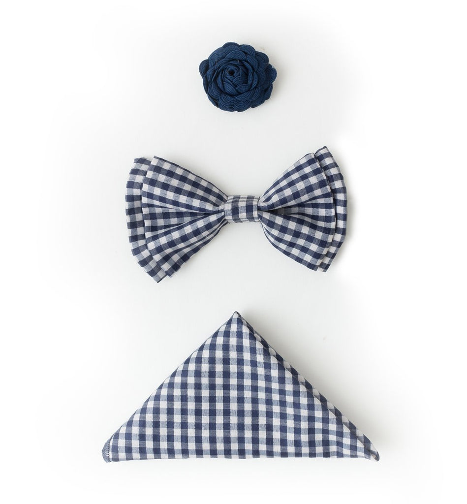 Bow Tie Accessories Set - Navy Gingham