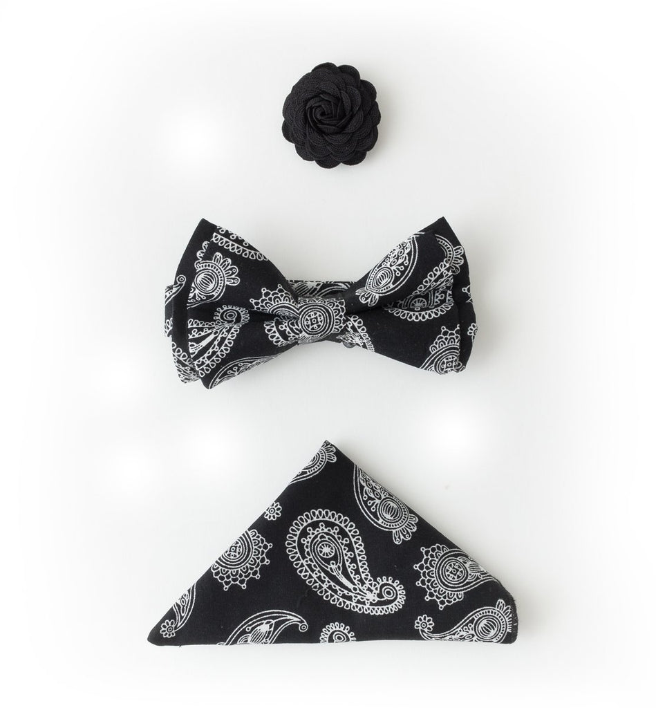 Bow Tie Accessories Set - Black Bandana Paisley