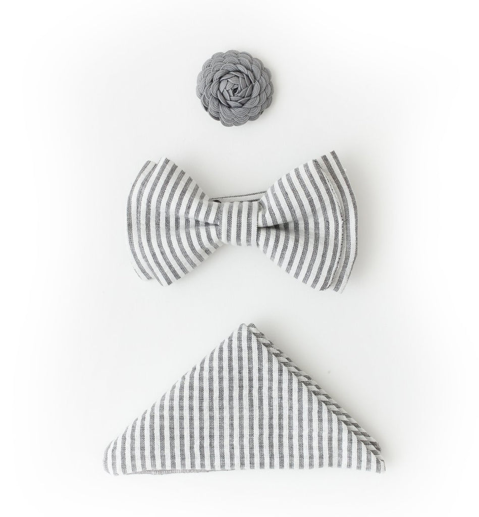 Bow Tie Accessories Set - Grey Stripes
