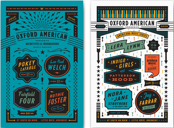 Oxford American 2015 Concert Series Poster Duo