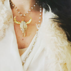 gold and cream steer skull pendant necklace