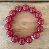 12mm red jade faceted bead bracelet