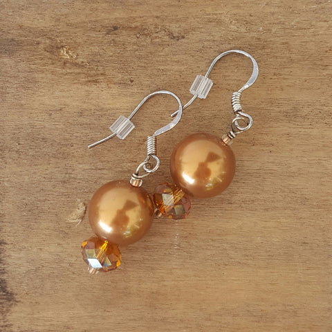 "earrings glass crystal pearls in caramel w lt topaz Swarovski crystal 1"" dangle"
