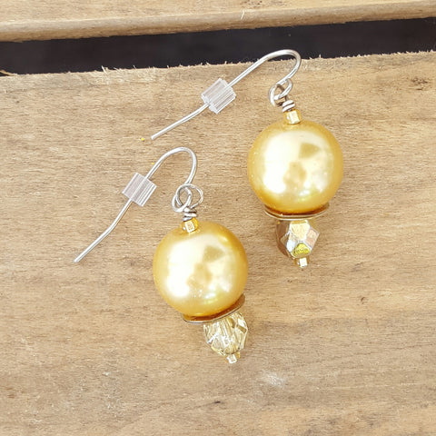 "earrings glass crystal pearls in midas gold w pale gold crystal 1"" dangle"