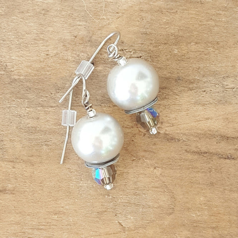 "earrings glass crystal pearls in platinum w smoke Swarovski crystal 1"" dangle"