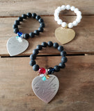 12mm black agate & white jade beads w 44mm heart charm and birthstones