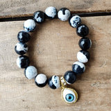 12mm khaki black agate gemstones w evil eye charm quality stretch bracelet