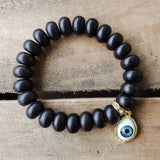 12mm roundel agate gemstones w evil eye charm quality stretch bracelet