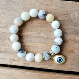 12mm amazonite gemstones w evil eye charm quality stretch bracelet