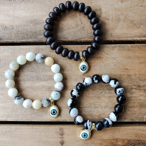 12mm gemstone beads with 3rd eye charms quality stretch bracelets