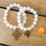 pale pink jade protection beaded mommy & me bracelets w 4 way brass medals