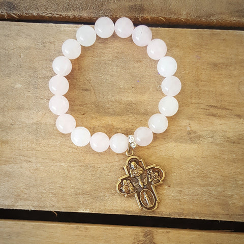 pale pink jade protection beaded mommy bracelet w 4 way brass medal
