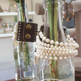 leather snap cuff 7 strand freshwater potato pearls and crystals cuff style bracelet bottle