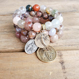 12mm - 14mm beaded quality stretch bracelets w various winged angel medals