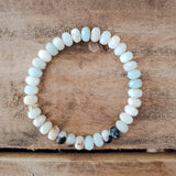 5x8mm roundel Amazonite pale teal bead bracelet