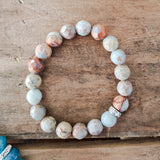 10mm snakeskin jasper faceted bead bracelet