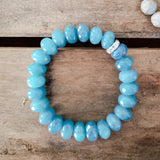 12mm roundel blue sponge Quartz bead bracelet