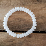 5x8mm roundel white Quartz bead bracelet