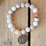 "10mm round faceted grey agate bead bracelet 1"" bronze Eden's Marriage medal"