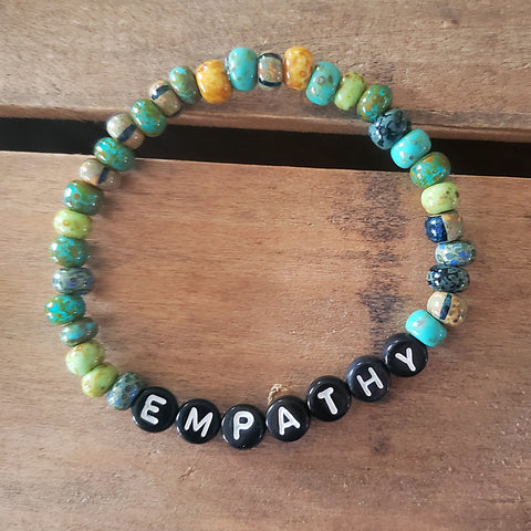 6mm Czech turquoise Picasso beads with letter beads spelling 'EMPATHY' Message Bracelet