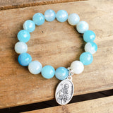 "12mm agate gemstone blue beads 1"" oval St. Brendan medal quality stretch bracelet"