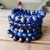 blue gemstone bead quality stretch bracelets