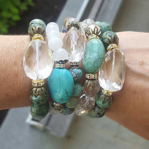 protection bracelets by Marinella 10mm 12mm round faceted jade crystal turquoise agate with turquoise or crystal quartz nugget centers