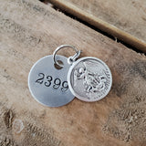 "1.5"" round aluminum tag vtg stamped badge numbers 1"" round Arch angel Michael medal"