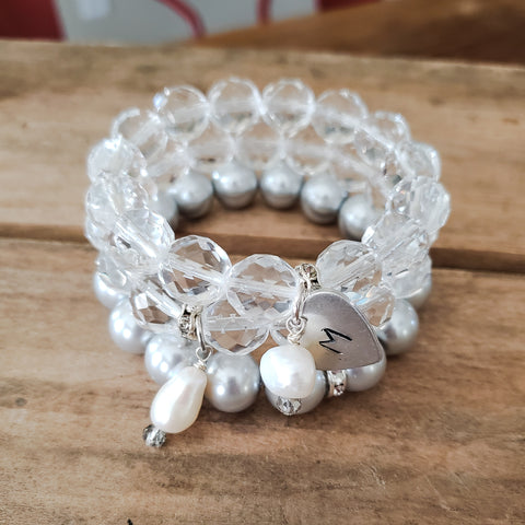 10mm 12mm Czech crystal beads w freshwater pearls hand stamped heart & chalice medal bracelet stack