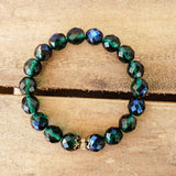 10mm Czech navy green beads vintage brass details quality stretch bracelet