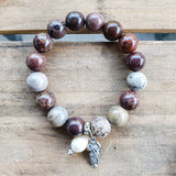12mm devils agate beads w 11mm freshwater pearl Swarovski crystal dangle Mary Untier of Knots figure medal bracelet