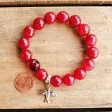 12mm red jade gemstone prayer bead bead bracelet with pewter religious Dove medal