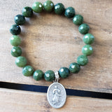 "10mm emerald green jade gemstone beads 1"" oval St. Mary medal"