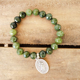 "10mm green jade gemstone beads St. Mary 1"" oval medal"