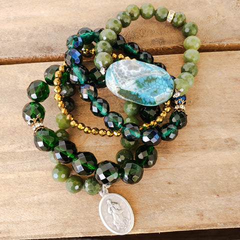 Emerald green jade stack of bracelets