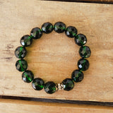 12mm Czech emerald green beads vintage brass details quality stretch bracelet