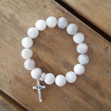 "Protection bracelet by Marinella rose' 10mm crazy lace agate beads 1"" first holy communion crucifix charm"