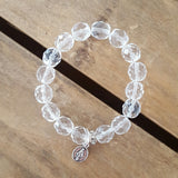 "Protection bracelet by Marinella rose' 10mm Czech crystal clear beads 1/2"" first holy communion pewter St. Mary mini medal"