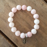 "Protection bracelet by Marinella rose' 10mm pink opal beads 1/2"" first holy communion brass St. Mary mini medal"