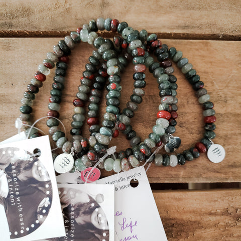 8mm bloodstone men's hand stamped bracelets